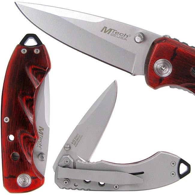 Pakkawood Tactical Folding Knife with Belt Clip