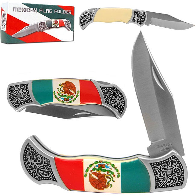 Mexican Flag Folding Pocket Knife with Sheath