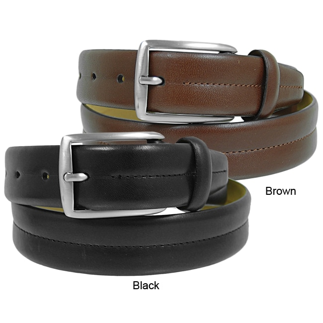 Joseph Abboud Men's Stitched Luxury Leather Belt