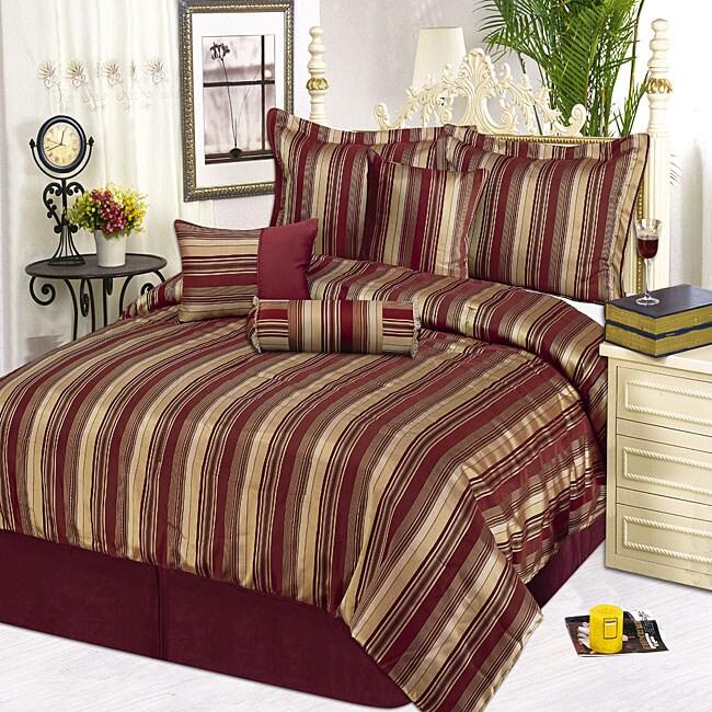Ruby Stripe 7-piece Comforter Set