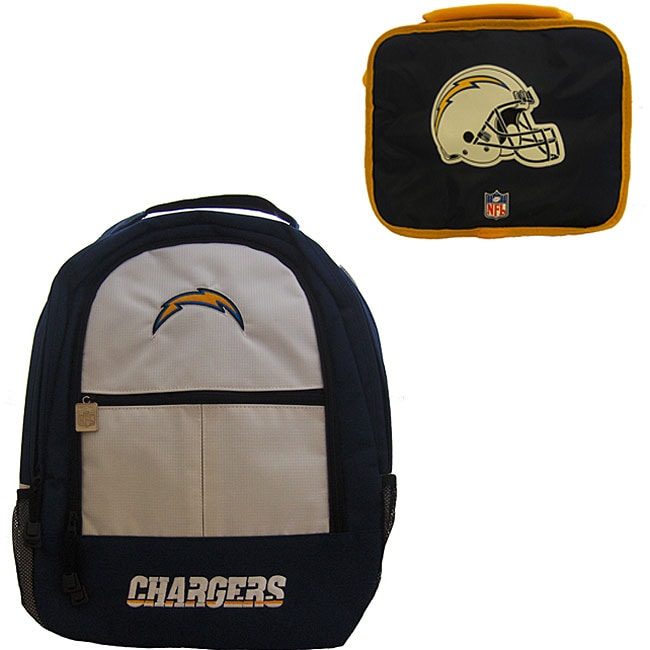 San Diego Chargers Backpack: San Diego Chargers Backpack/ Lunchbox Combo