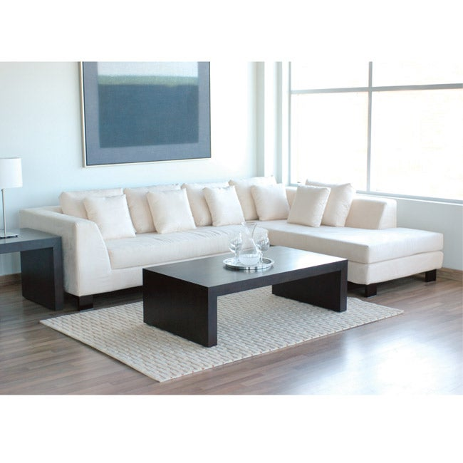 Off White Passion Suede Sectional Sofa Free Shipping