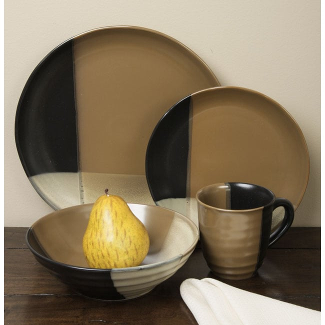 Sango Gold Dust Black 16-piece Dinnerware Set