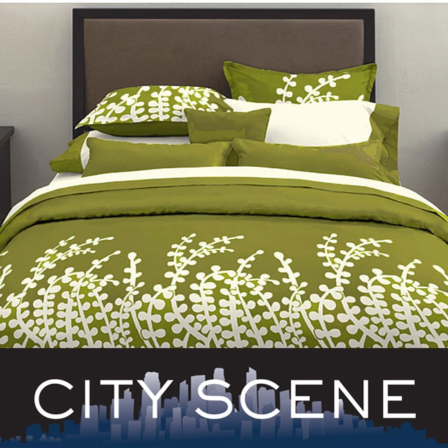 City Scene Branches Grass Green 3 Piece Duvet Cover Set