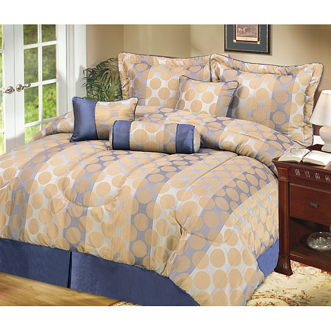 Newport 4-piece Taupe and Blue Comforter Set