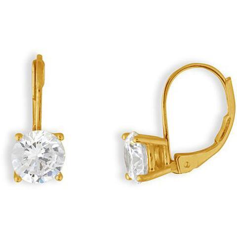 Simon Frank 5mm 14k Gold Overlay CZ Basket-set Earrings