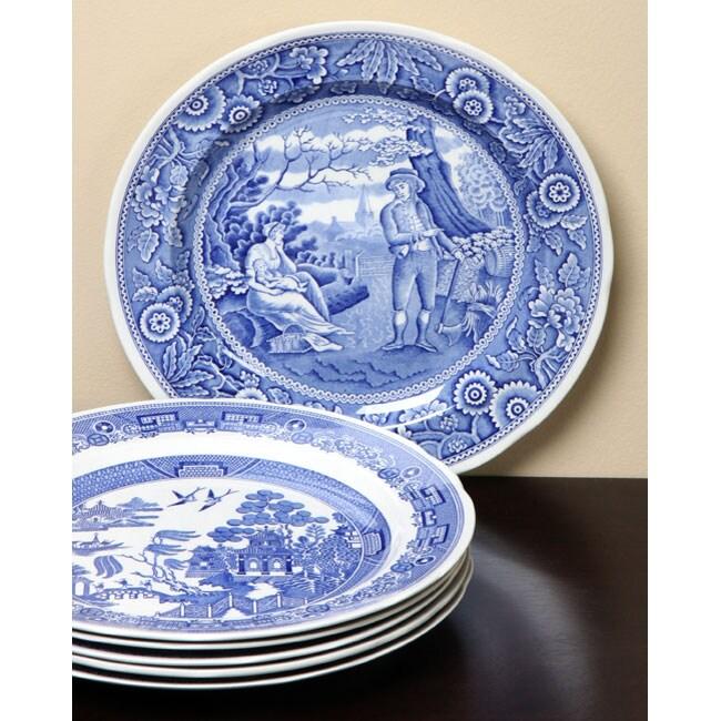 spode blue room 6piece 105inch georgian plate set