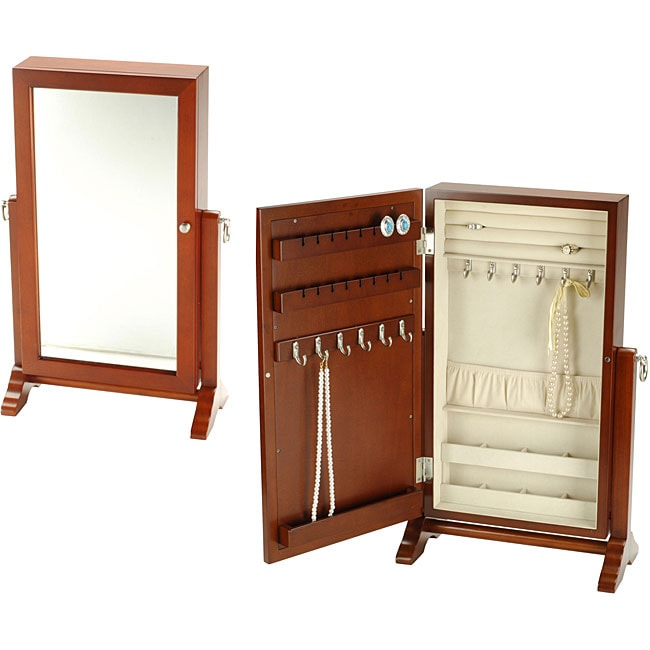Wall Mounted Walnut Jewelry Cabinet With Mirror Free