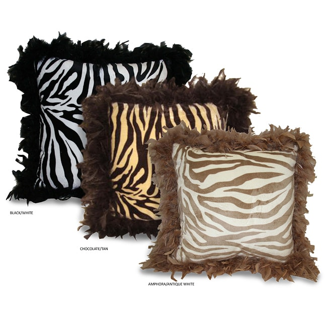 Zebra Print Pillow with Feather Trim - Free Shipping On Orders Over $45 - Overstock.com - 11559107