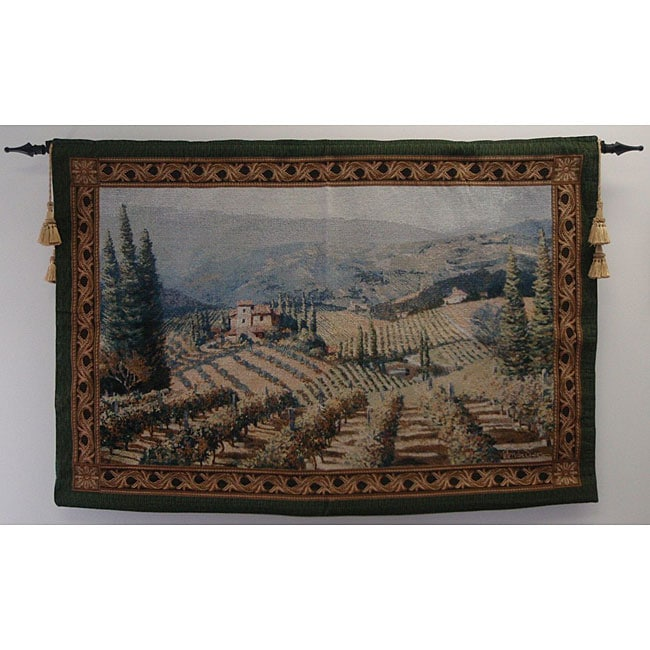 Vineyard Vista Wall Tapestry With Rod And Tassels Free