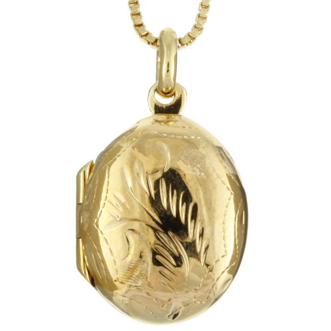 14k Gold over Silver Small Oval Locket Necklace