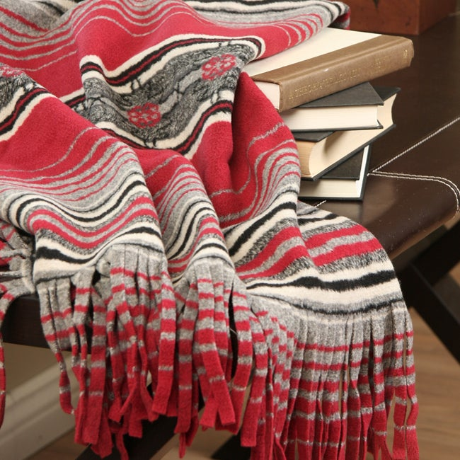 Woolrich Hickory Run Red Stripe Throw Blanket