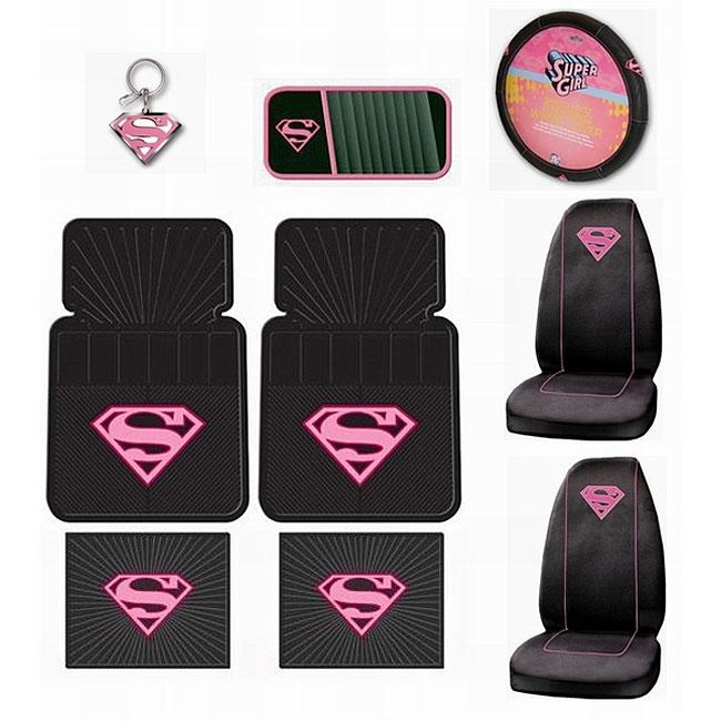 Supergirl Pink Shield 9-piece Auto Accessory Set
