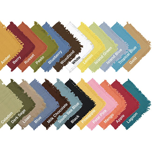 Solid Fringed Woven Cotton Napkins (Set of 12)