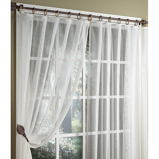 Honeycomb Woven Sheer 36 Inch Curtains Set Of 2