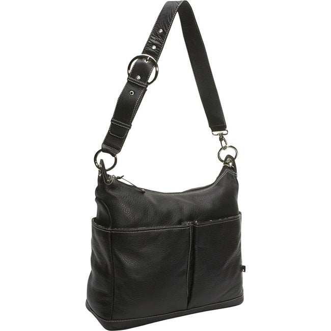 OiOi Black Leather Pocketed Hobo Diaper Bag
