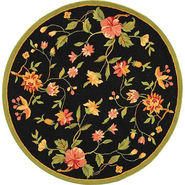 Safavieh Hand-hooked Garden Black Wool Area Rug - 4' x 4' Round