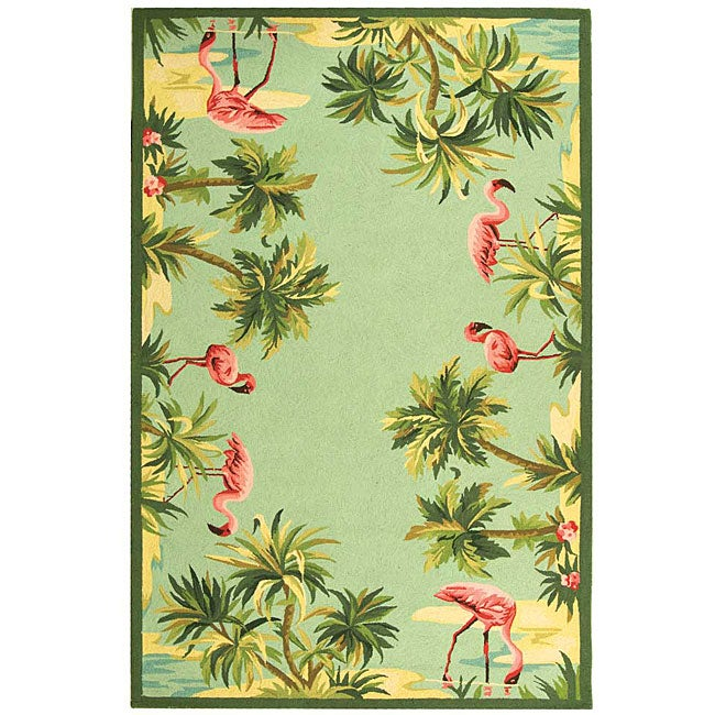 Safavieh Hand Hooked Flamingo Light Blue Wool Rug 3 9 X 5