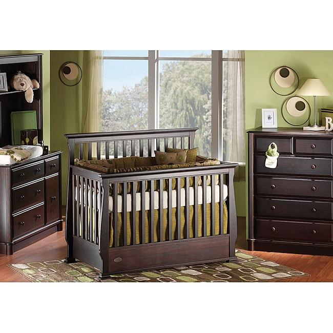 Shop Solid Wood Espresso Convertible Crib With Guard Rail