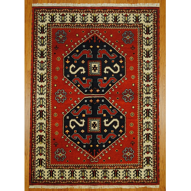 Indo Kazak Red/ Ivory Wool-blend Rug (5'8 x 7'11)
