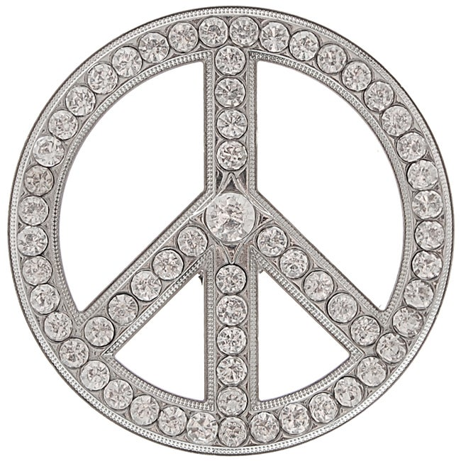 Boston Traveler Unisex Rhinestone Peace Sign Belt Buckle