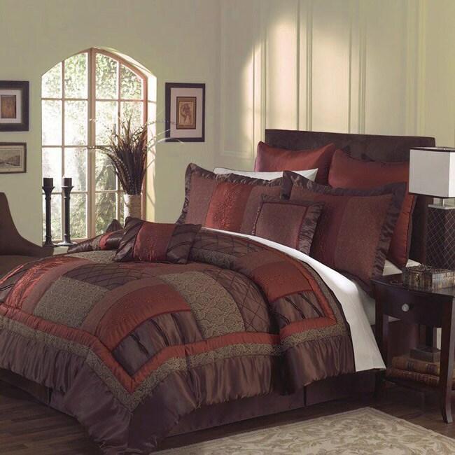 Loretta 7-piece Burgundy/ Chocolate Comforter Set - Free Shipping Today - Overstock.com - 11579586