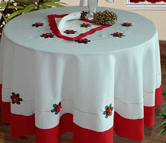 Scalloped Christmas Poinsettia 70-inch Round Tablecloth Set - Free Shipping Today - Overstock ...
