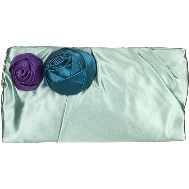 Prada Satin Rose Mint Green Clutch