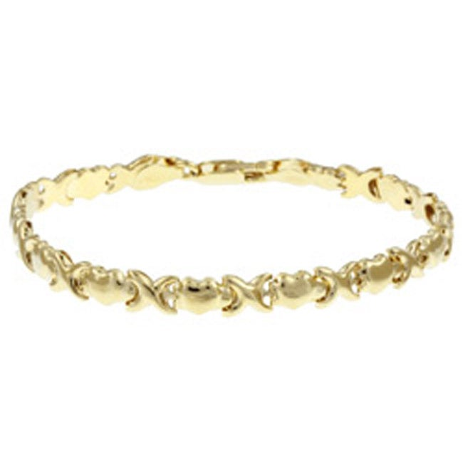 Hearts And Kisses Bracelet: 14k Gold Over Silver Heart Hugs And Kisses Bracelet