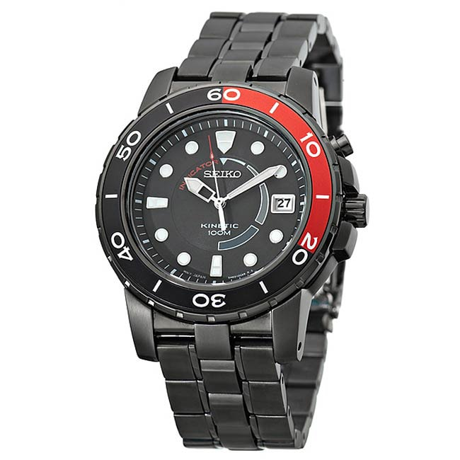 Seiko Men's SKA389 Kinetic Quartz Stainless Steel Watch