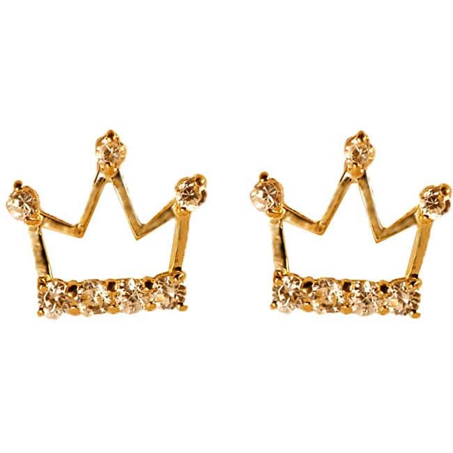Gioelli 14k Yellow Gold Child's Crown Earrings