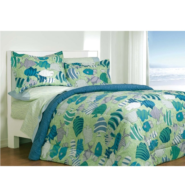 Reef tropical fish pattern twin size bedding ensemble for Fish bedding twin
