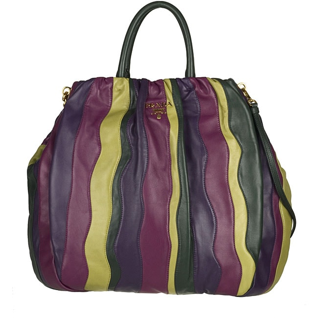 Prada Multicolor Striped Na Leather Bag