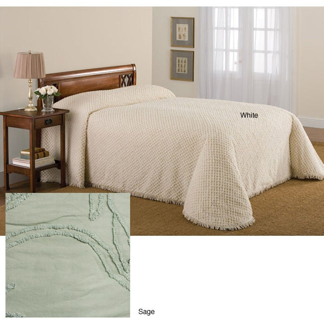 Tufted Chenille Bedspread Set (Sage - Queen)