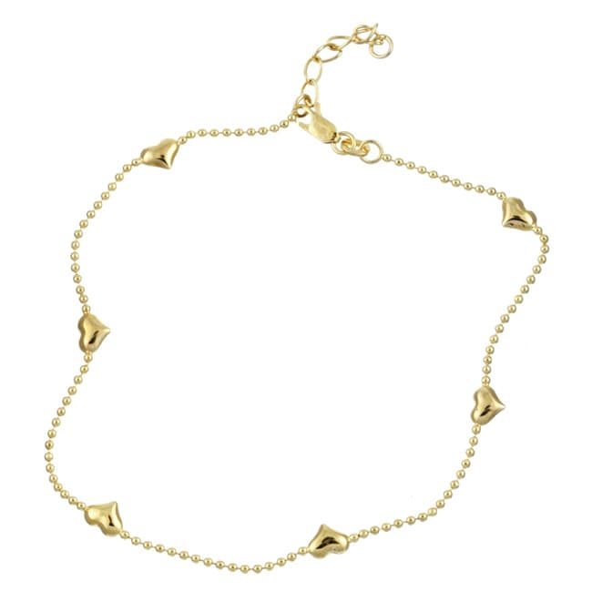 Sterling Essentials 14k Gold over Silver Puffed Heart ...