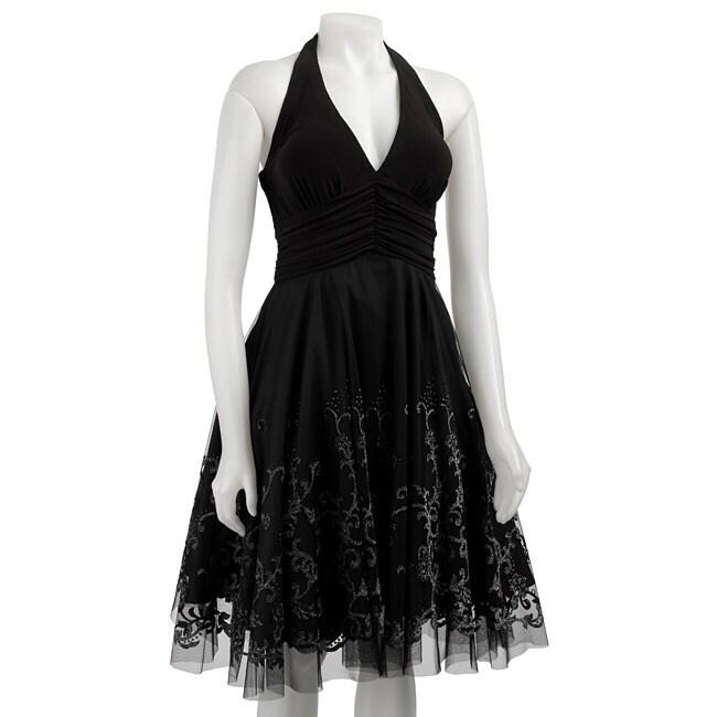 51f1b21eca29a Onyx Nite Women's Black Beaded Tulle Halter Dress