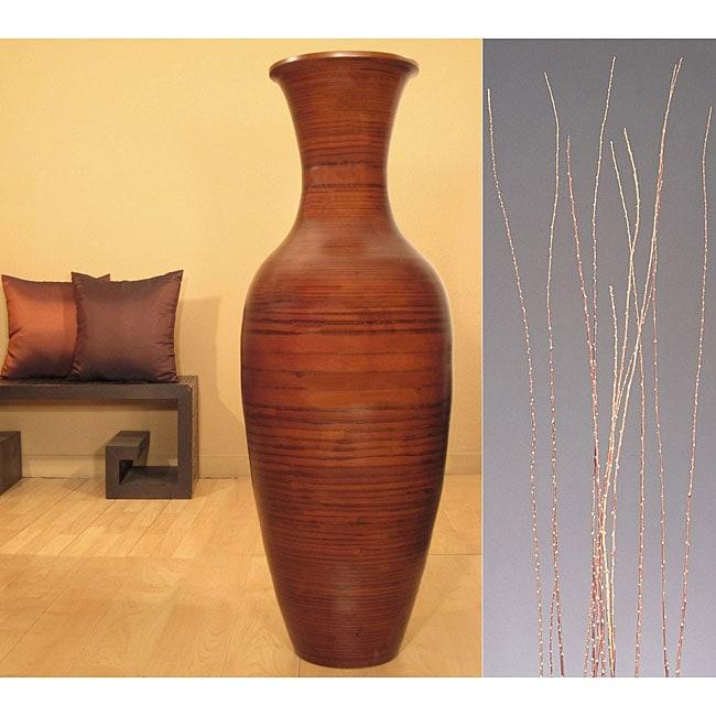 Salt Cedar with Cocoa Bamboo Floor Vase