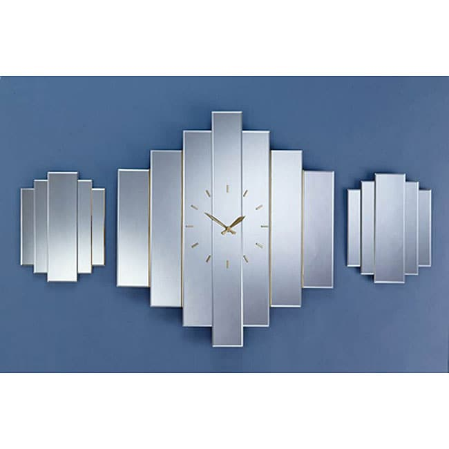 Staggered Mirror Clock Set - Free Shipping Today - Overstock.com - 11603046