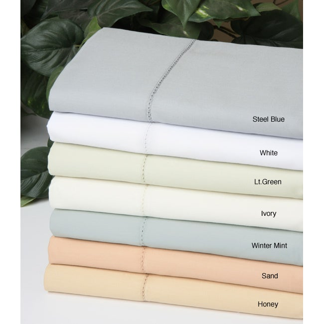 Hemstitch Collection 650 Thread Count Cotton Sateen Sheet Set