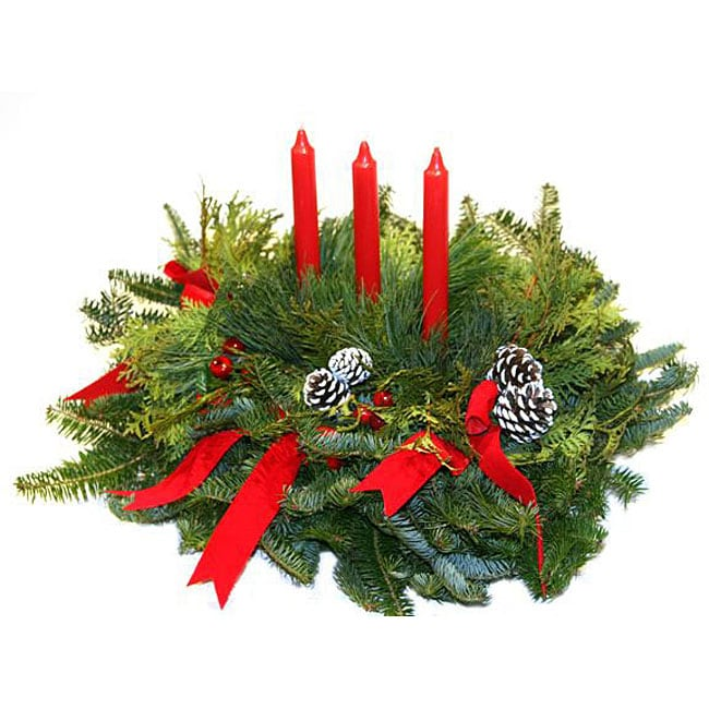Fresh-cut Maine 3-candle Holiday Centerpiece