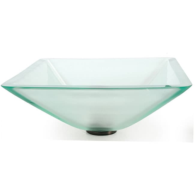 Kraus Aquamarine Square Frosted Glass Vessel Sink