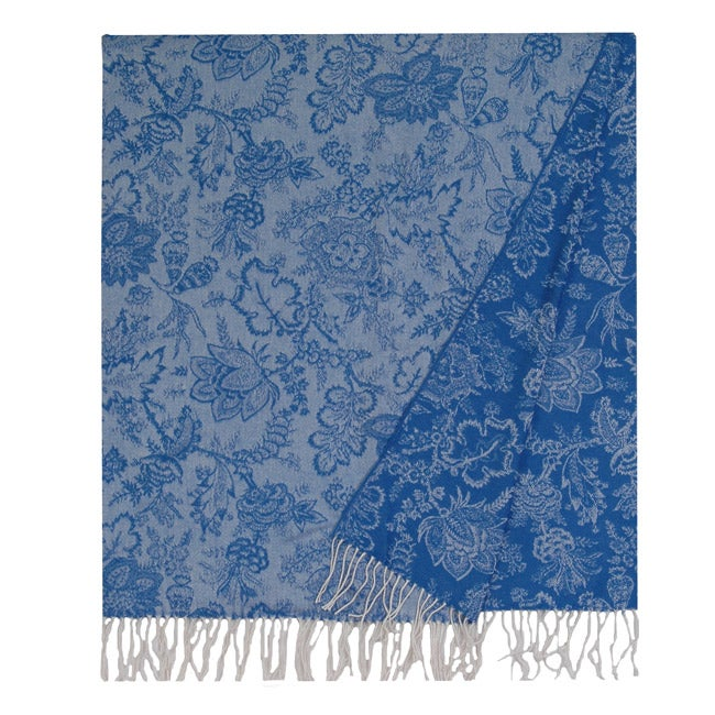 Wooded River Blue Floral Vine Wool Throw (Italy)