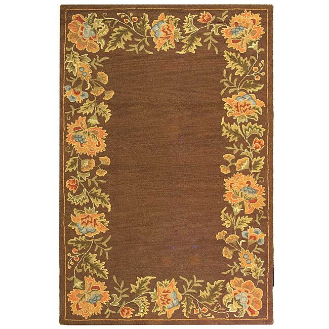 Safavieh Handmade Transitional Floral Brown Wool Rug - 7'9 x 9'9