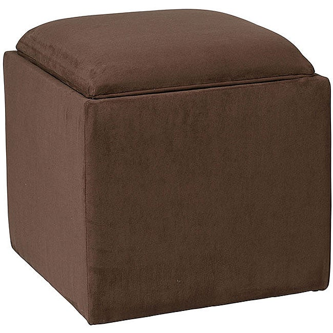 Storage Ottoman with Tray Dark Brown Microfiber - Storage Ottoman With Tray Dark Brown Microfiber - Free Shipping