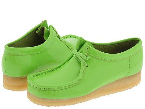 clarks wallabee  womens lime patent leather  free