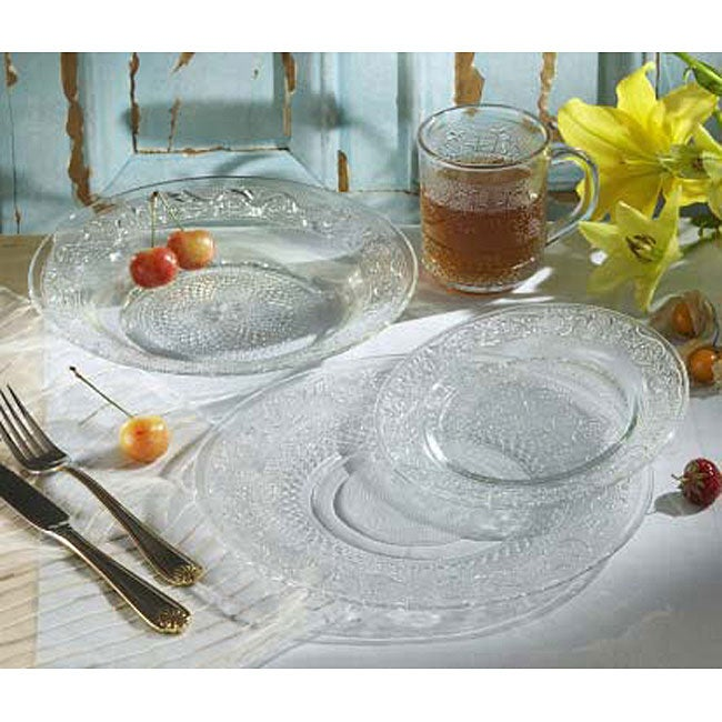 American Atelier Trellis 16-piece Glass Dinnerware Set ...