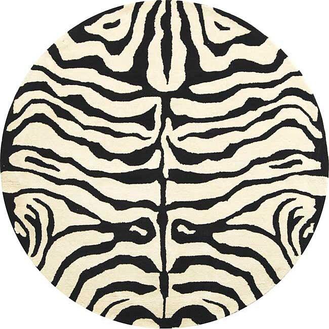 Safavieh Handmade Soho Zebra Ivory/ Black New Zealand Wool Rug (8' Round)