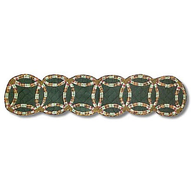 Patch Magic Green Double Wedding Ring 72-inch Table Runne...