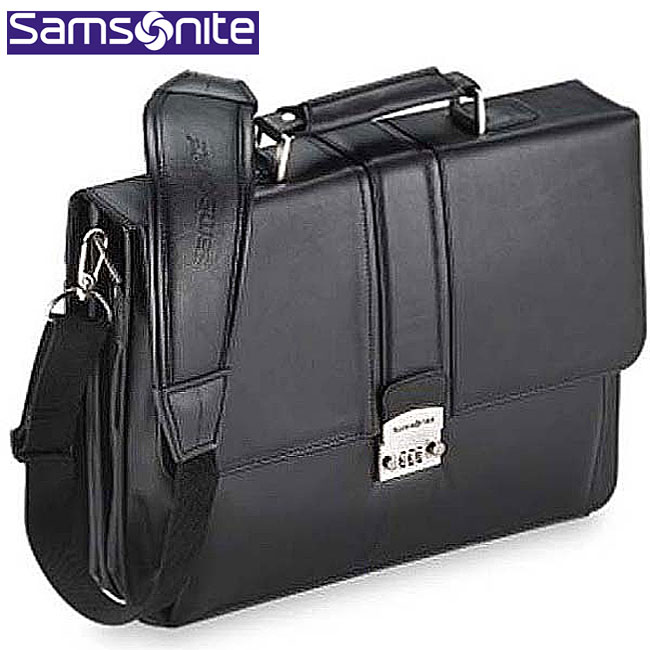 Shop Samsonite Leather Flap Over Locking Briefcase Free