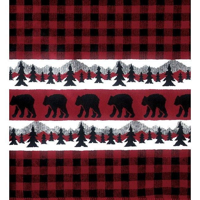 Fleece Bear Plaid Throw